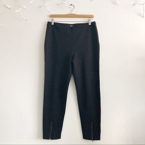 St. John Black Ankle pants with zip leather trim